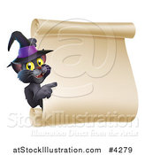 Vector Illustration of a Black Cat Wearing a Witch Hat and Pointing to a Halloween Scroll Sign by AtStockIllustration