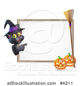 Vector Illustration of a Black Cat Wearing a Witch Hat and Pointing to a Halloween Sign with Pumpkins and a Broomstick by AtStockIllustration