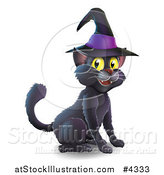 Vector Illustration of a Black Cat Wearing a Witch Hat and Sitting by AtStockIllustration