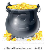 Vector Illustration of a Black Cauldron with Gold Coins by AtStockIllustration