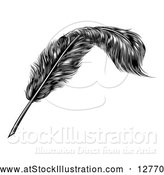 Vector Illustration of a Black Engraved Feather Quill Pen by AtStockIllustration