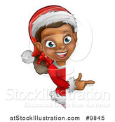 Vector Illustration of a Black Female Christmas Elf Pointing Around a Sign by AtStockIllustration
