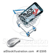 Vector Illustration of a Black Friday Sale Advertisement on a Smart Phone Screen in an Online Shopping Cart by AtStockIllustration