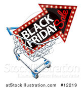 Vector Illustration of a Black Friday Sale Arrow Marquee Sign in a Shopping Cart by AtStockIllustration