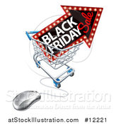 Vector Illustration of a Black Friday Sale Arrow Marquee Sign in a Shopping Cart with a Computer Mouse by AtStockIllustration