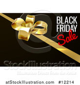 Vector Illustration of a Black Friday Sale Text Design with a Gift Bow on Black by AtStockIllustration
