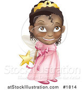 Vector Illustration of a Black Girl in a Pink Fairy Princess Costume, Holding Her Wand Behind Her Back by AtStockIllustration