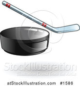 Vector Illustration of a Black Hockey Puck Flying Forward, a Hockey Stick in the Background by AtStockIllustration