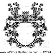 Vector Illustration of a Black Knight's Great Helm Helmet and Filigree Crest Coat of Arms Shield by AtStockIllustration