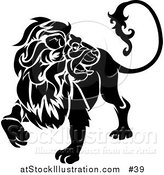 Vector Illustration of a Black Lion Looking Back: Leo, Astrological Sign of the Zodiac by AtStockIllustration