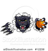 Vector Illustration of a Black Panther Mascot Shredding Through a Wall with a Basketball by AtStockIllustration