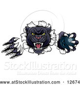 Vector Illustration of a Black Panther Mascot Shredding Through a Wall with a Bowling Ball by AtStockIllustration