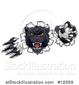 Vector Illustration of a Black Panther Mascot Shredding Through a Wall with a Soccer Ball by AtStockIllustration