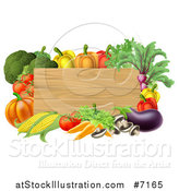Vector Illustration of a Black Rectangular Wooden Sign Framed in Produce Vegetables by AtStockIllustration