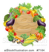 Vector Illustration of a Black Round Wooden Sign Framed in Produce Vegetables by AtStockIllustration
