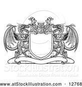Vector Illustration of a Black Shield Crest with Dragons and a Knights Helmet by AtStockIllustration
