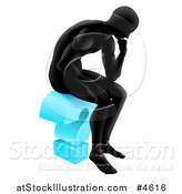 Vector Illustration of a Black Silhoeutted Man Thinking on a Blue Question Mark by AtStockIllustration