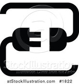 Vector Illustration of a Black Silhouette Cable Connection App Icon by AtStockIllustration
