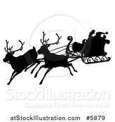 Vector Illustration of a Black Silhouette of Santa Flying in a Magic Sleigh with Two Reindeer by AtStockIllustration