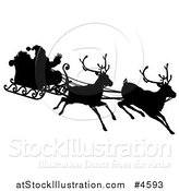Vector Illustration of a Black Silhouette of Santa Waving and Flying in a Magic Sleigh with Two Reindeer by AtStockIllustration