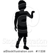 Vector Illustration of a Black Silhouetted Boy by AtStockIllustration