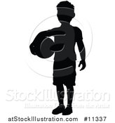 Vector Illustration of a Black Silhouetted Boy Holding a Ball by AtStockIllustration