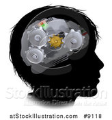 Vector Illustration of a Black Silhouetted Boy's Face with 3d Gear Cogs Visible in His Brain by AtStockIllustration