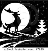 Vector Illustration of a Black Silhouetted Buck Deer with Evergreens Under a Full Moon at Night by AtStockIllustration
