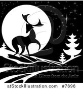 Vector Illustration of a Black Silhouetted Buck with Evergreens Under a Full Moon at Night by AtStockIllustration