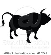 Vector Illustration of a Black Silhouetted Bull Cow by AtStockIllustration