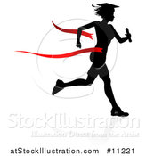 Vector Illustration of a Black Silhouetted Female Graduate Running a Race, with a Shadow, Breaking Through a Red Finish Line Ribbon by AtStockIllustration