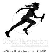 Vector Illustration of a Black Silhouetted Female Graduate Running a Race, with a Shadow by AtStockIllustration