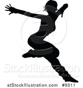 Vector Illustration of a Black Silhouetted Female Hip Hop Dancer by AtStockIllustration