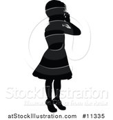 Vector Illustration of a Black Silhouetted Girl by AtStockIllustration