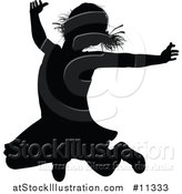 Vector Illustration of a Black Silhouetted Girl Jumping by AtStockIllustration