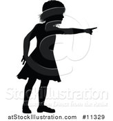 Vector Illustration of a Black Silhouetted Girl Pointing by AtStockIllustration