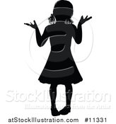 Vector Illustration of a Black Silhouetted Girl Shrugging by AtStockIllustration