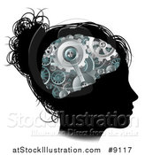 Vector Illustration of a Black Silhouetted Girl's Face with 3d Gear Cogs Visible in Her Brain by AtStockIllustration