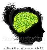 Vector Illustration of a Black Silhouetted Girl's Head in Profile, with Green Glowing Circuit Brain by AtStockIllustration