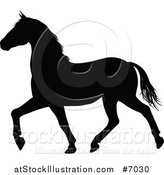 Vector Illustration of a Black Silhouetted Horse Prancing by AtStockIllustration