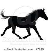 Vector Illustration of a Black Silhouetted Horse Running by AtStockIllustration