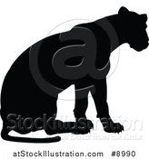 Vector Illustration of a Black Silhouetted Lioness Sitting by AtStockIllustration