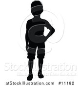 Vector Illustration of a Black Silhouetted Little Boy by AtStockIllustration