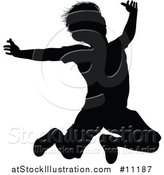 Vector Illustration of a Black Silhouetted Little Boy Jumping by AtStockIllustration