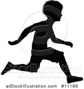 Vector Illustration of a Black Silhouetted Little Boy Running by AtStockIllustration