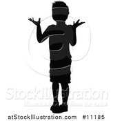 Vector Illustration of a Black Silhouetted Little Boy Shrugging by AtStockIllustration