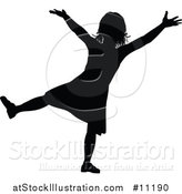Vector Illustration of a Black Silhouetted Little Girl Cheering by AtStockIllustration