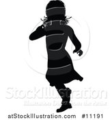 Vector Illustration of a Black Silhouetted Little Girl Running by AtStockIllustration