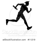 Vector Illustration of a Black Silhouetted Male Graduate Running a Race, with a Shadow by AtStockIllustration