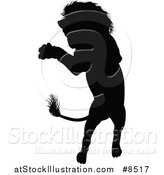 Vector Illustration of a Black Silhouetted Male Lion Rearing and Attacking by AtStockIllustration